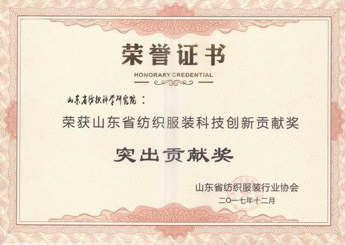 山东省纺织服装科技创新贡献奖-突出贡献奖