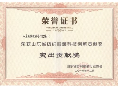 Shandong Textile and Apparel Technology Innovation Contribution Award-Outstanding Contribution Award